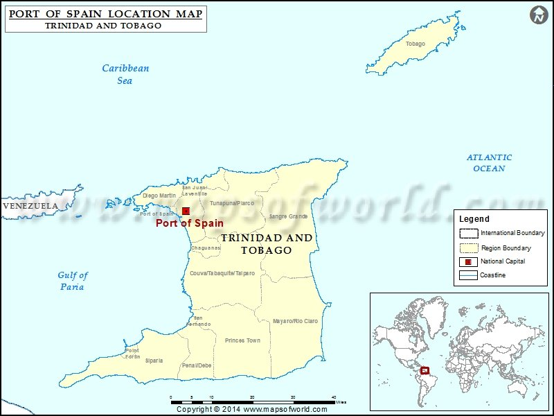 Where is Port Of Spain Location of Port Of Spain in Trinidad and