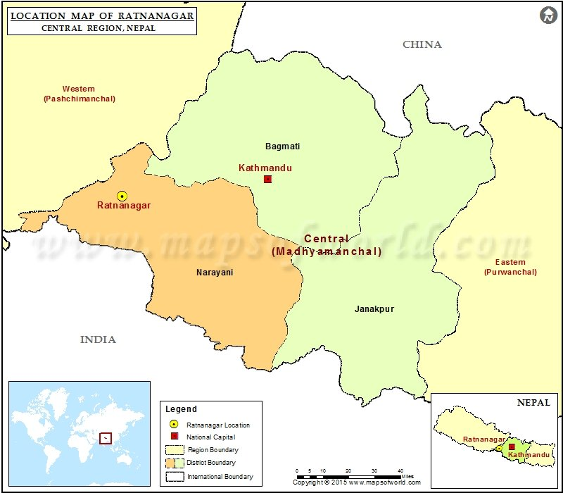 Location of Ratnanagar in Nepal Map