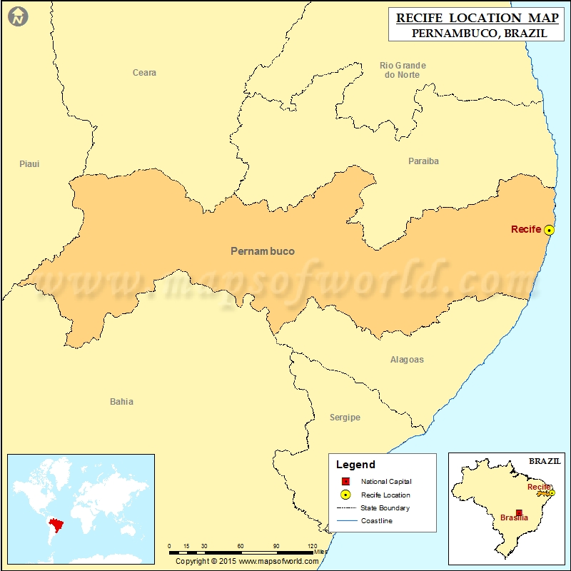 Where is Recife Location of Recife in Brazil Map