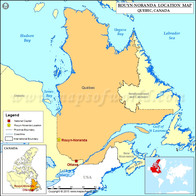 Where is RouynNoranda Located in Canada Map