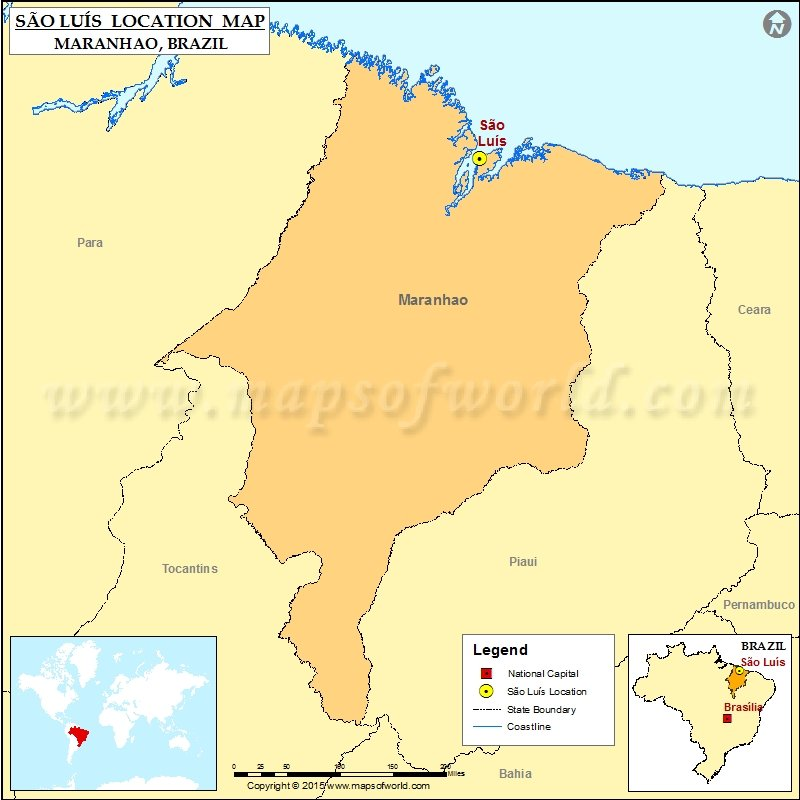 Where is Sao Luis Location of Sao Luis in Brazil Map