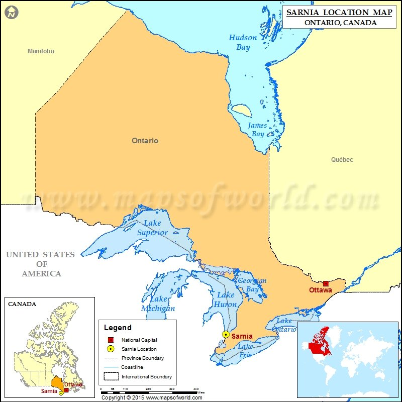 Where is Sarnia Located in Canada Map