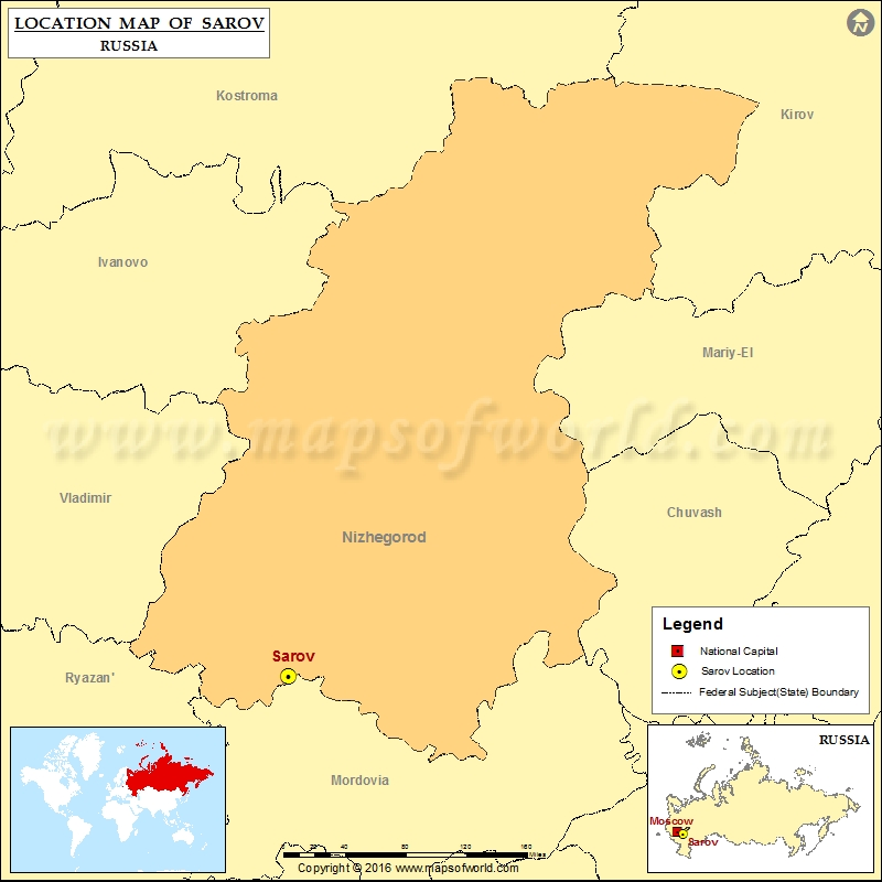 Where is Sarov | Location of Sarov in Russia Map