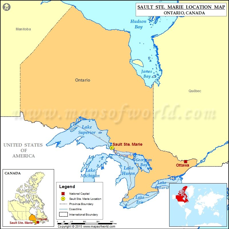 Sioux St Marie Canada Map Where is Sault Ste. Marie Located in Canada Map