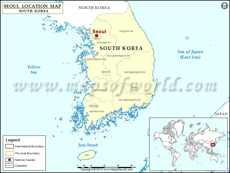 Where is Seoul Location of Seoul in South Korea Map