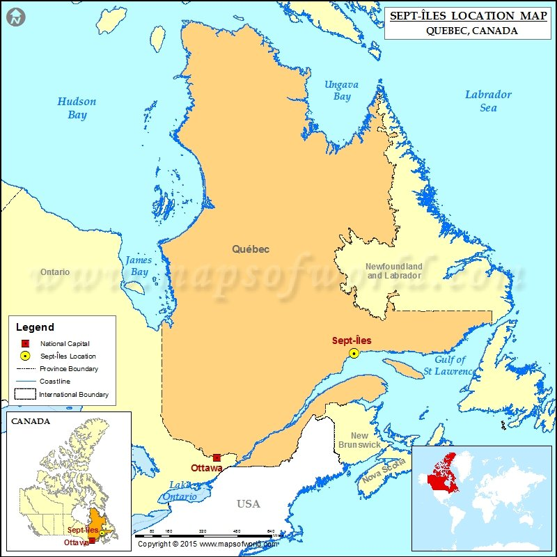 Where is SeptIles Located in Canada Map