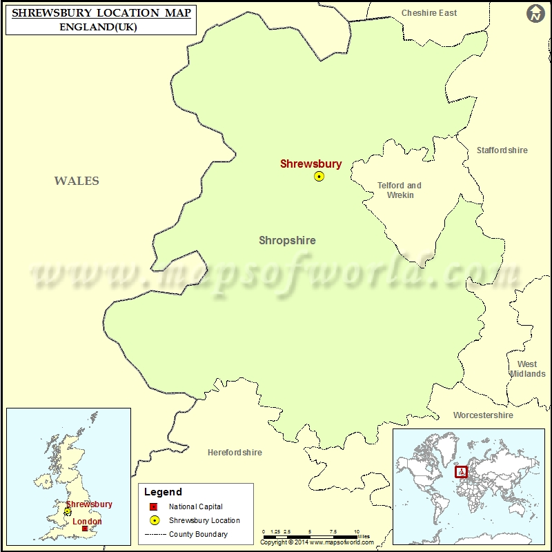Where is Shrewsbury Location of Shrewsbury in England Map