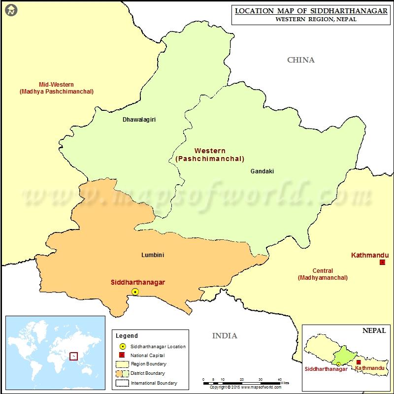 Location of Siddharthanagar in Nepal Map