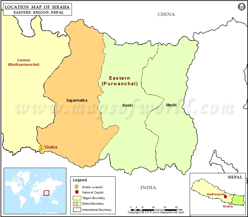 Location of Siraha in Nepal Map
