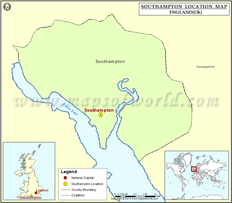 Where is Southampton Location of Southampton in England Map