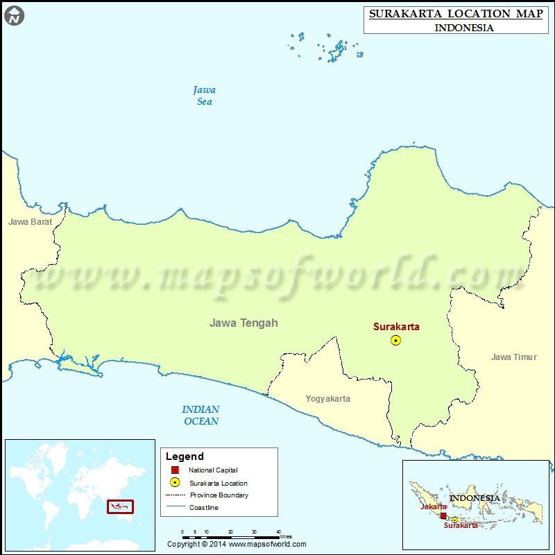 Where is Surakarta Location of Surakarta in Indonesia Map