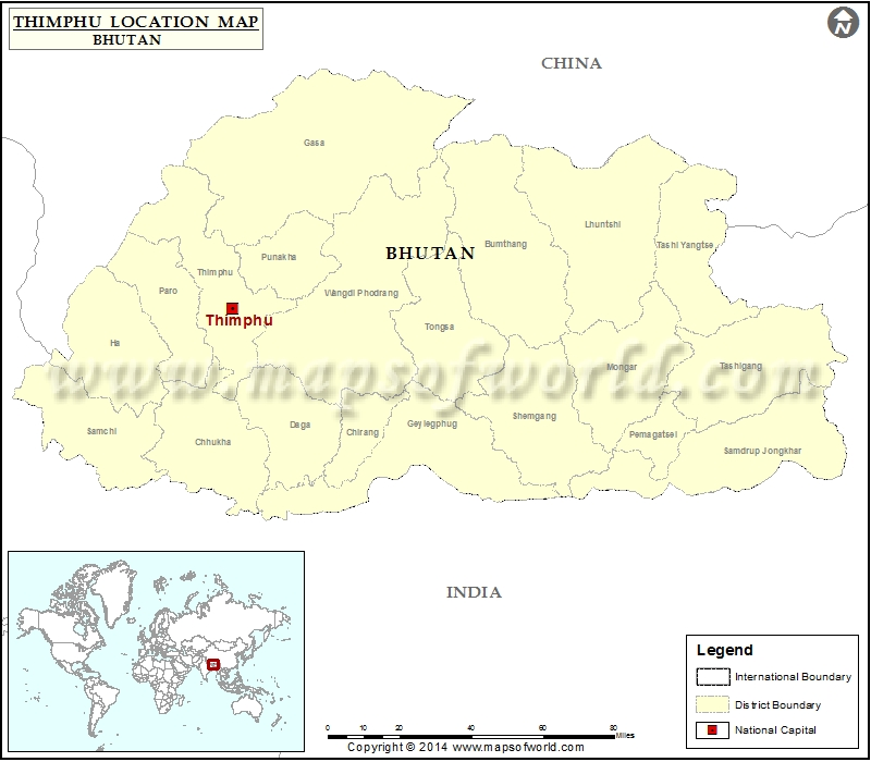 Where is Thimphu Location of Thimphu in Bhutan Map
