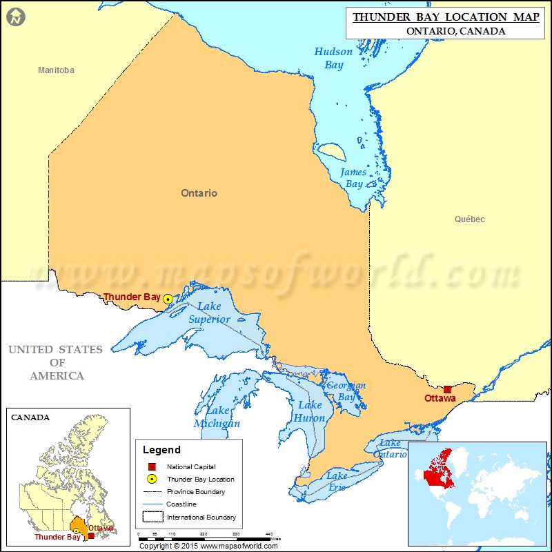Where is Thunder Bay Located in Canada Map