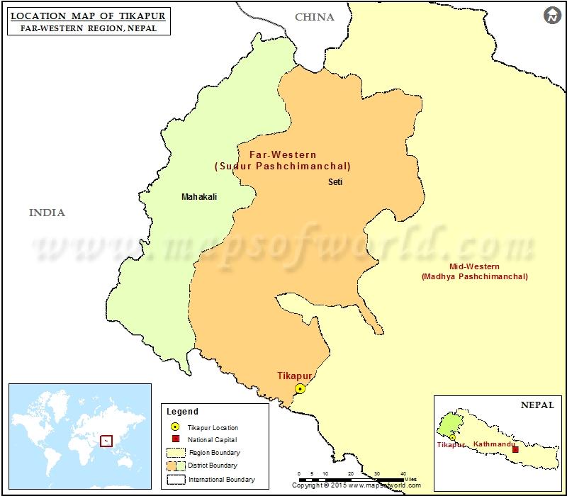 Location of Tikapur in Nepal Map