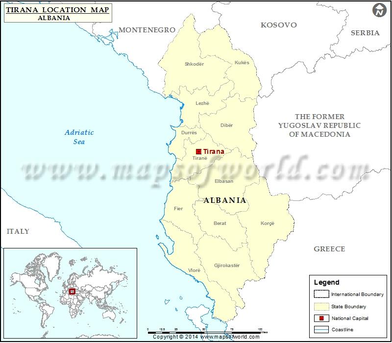 Where is Tirana Location of Tirana in Albania Map
