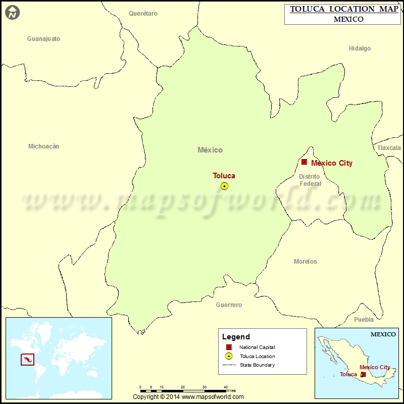 Where is Toluca Location of Toluca in Mexico Map