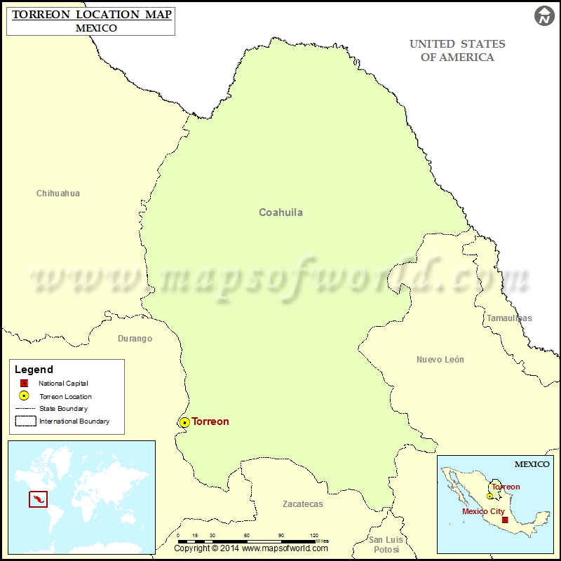 Where is Torreon | Location of Torreon in Mexico Map