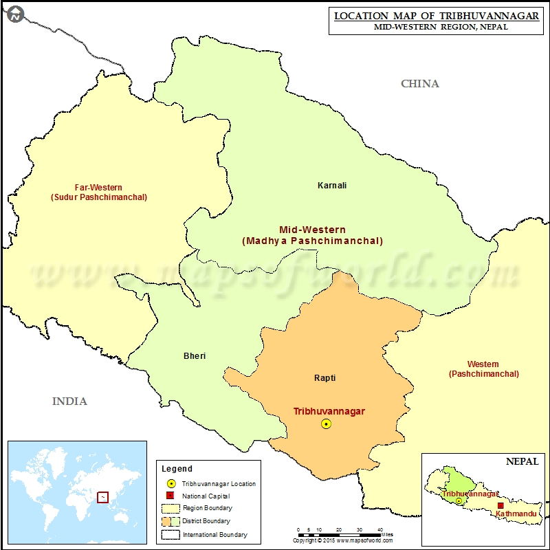 Location of Tribhuvannagar in Nepal Map