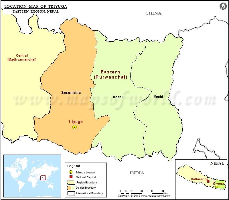 Location of Triyuga in Nepal Map