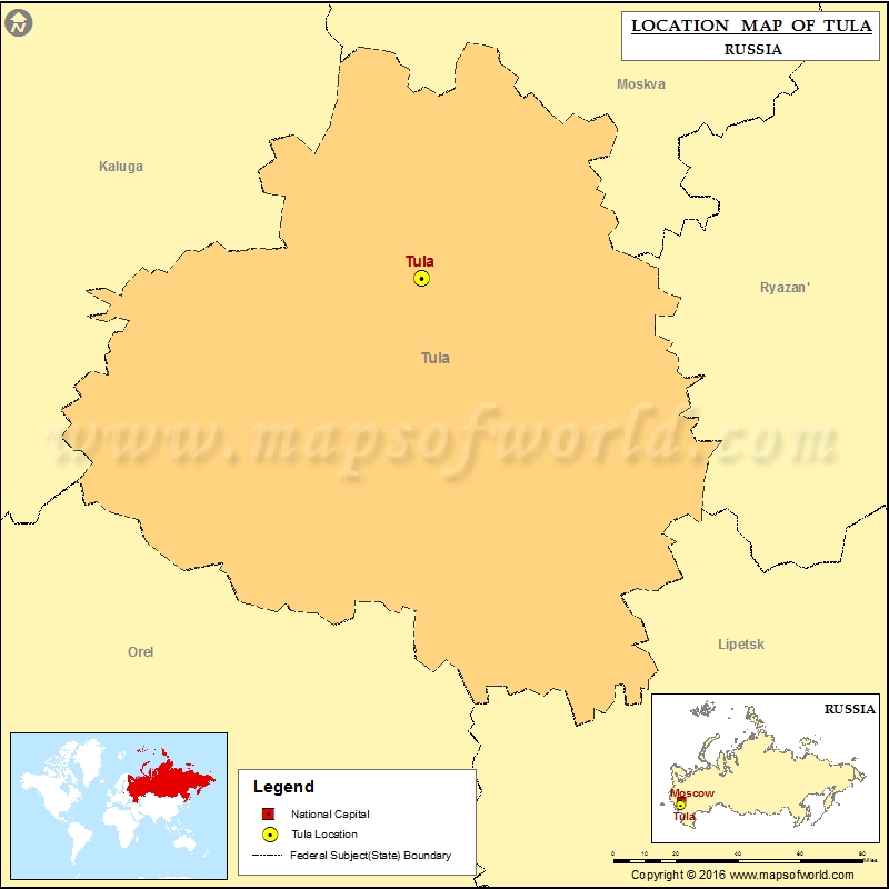 Where is Tula Location of Tula in Russia Map