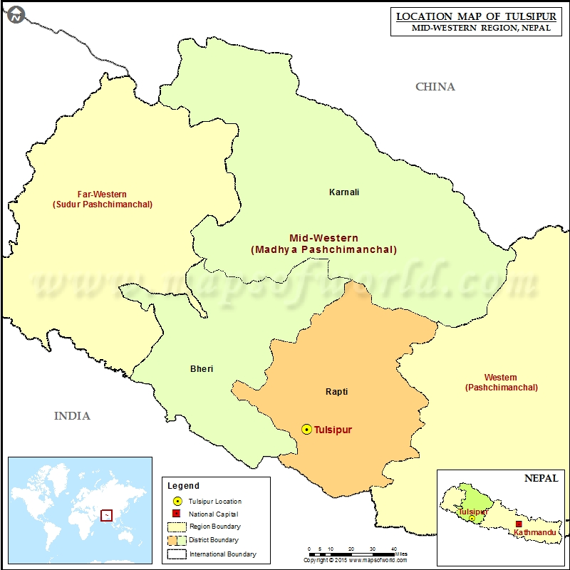 Location of Tulsipur in Nepal Map