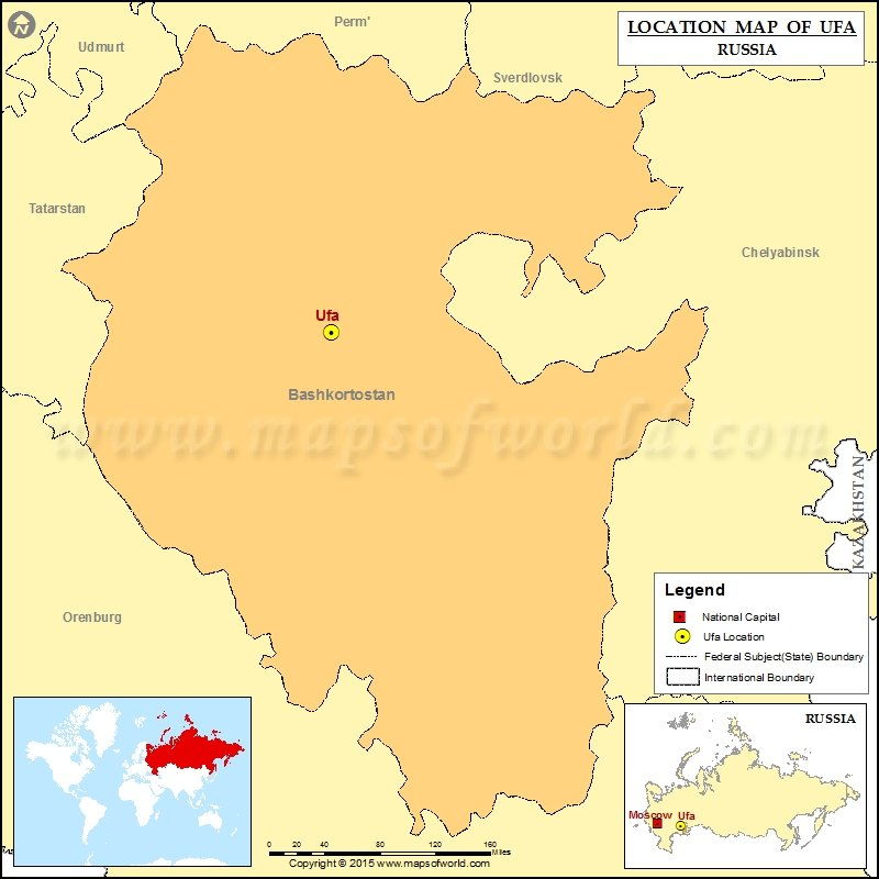Where Is Ufa Location Of Ufa In Russia Map