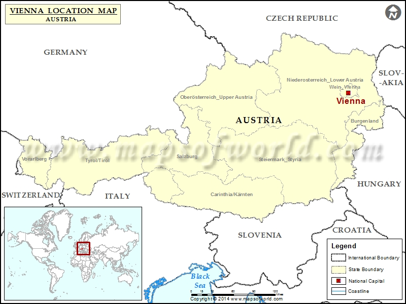 Where Is Vienna Location Of Vienna In Austria Map - Vienna austria on world map