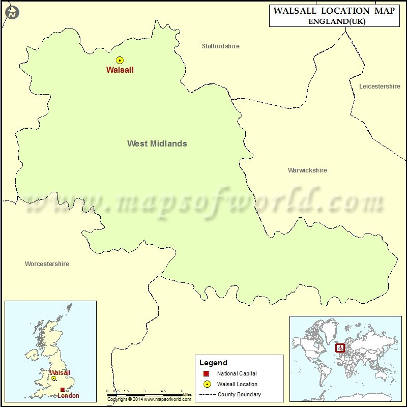 Where is Walsall Location of Walsall in England Map