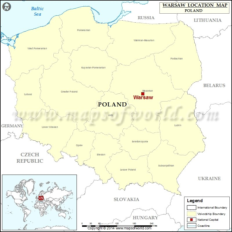 where is warsaw location of warsaw in poland map