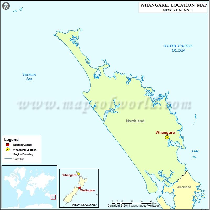 Whangarei New Zealand Map.Where Is Whangarei Location Of Whangarei In New Zealand Map