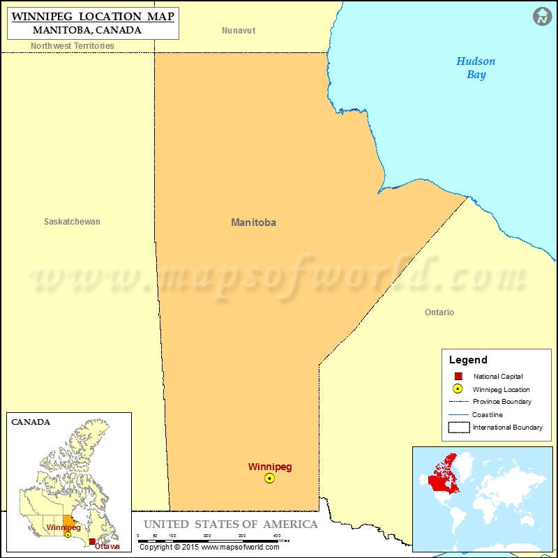 Where is Winnipeg Located in Canada Map