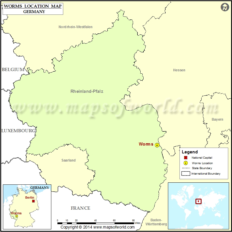 Where Is Worms Location Of Worms In Germany Map