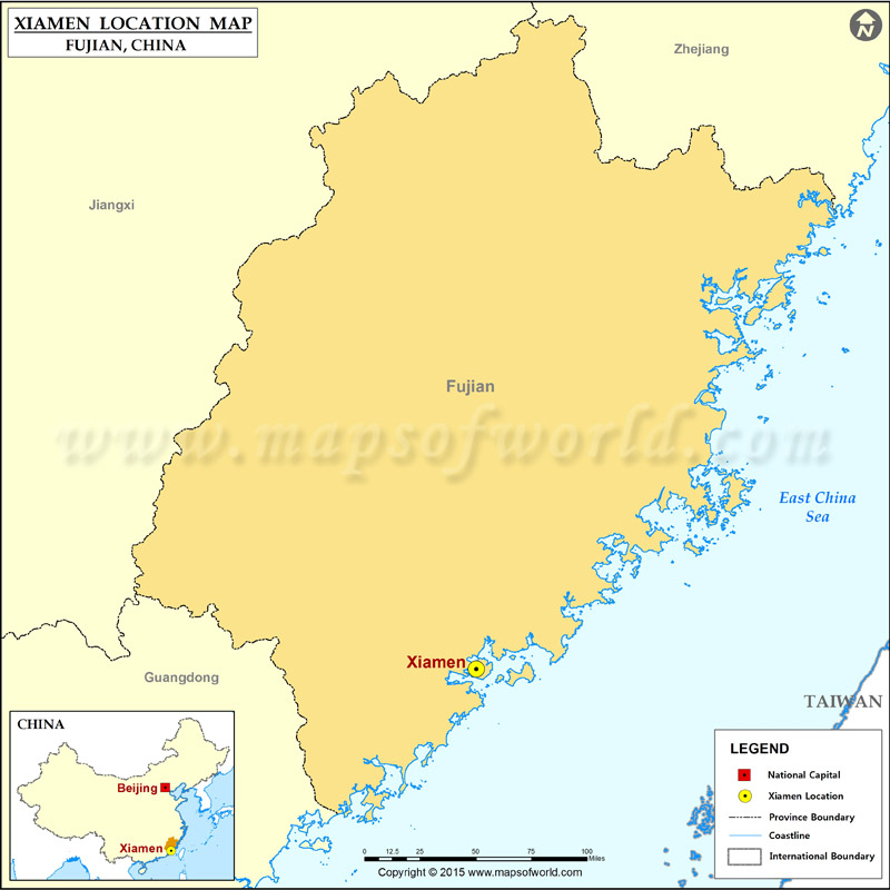 Where Is Xiamen Located Location Of Xiamen In China Map