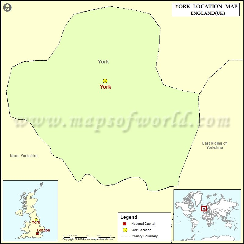 Where is York Location of York in England Map