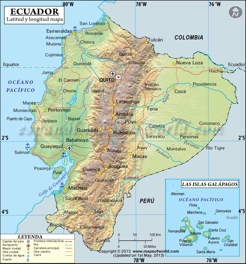 Latitud y Longitud de Ecuador