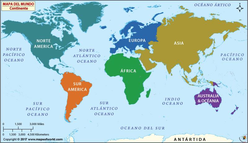 Continentes del Mundo Mundial Continentes