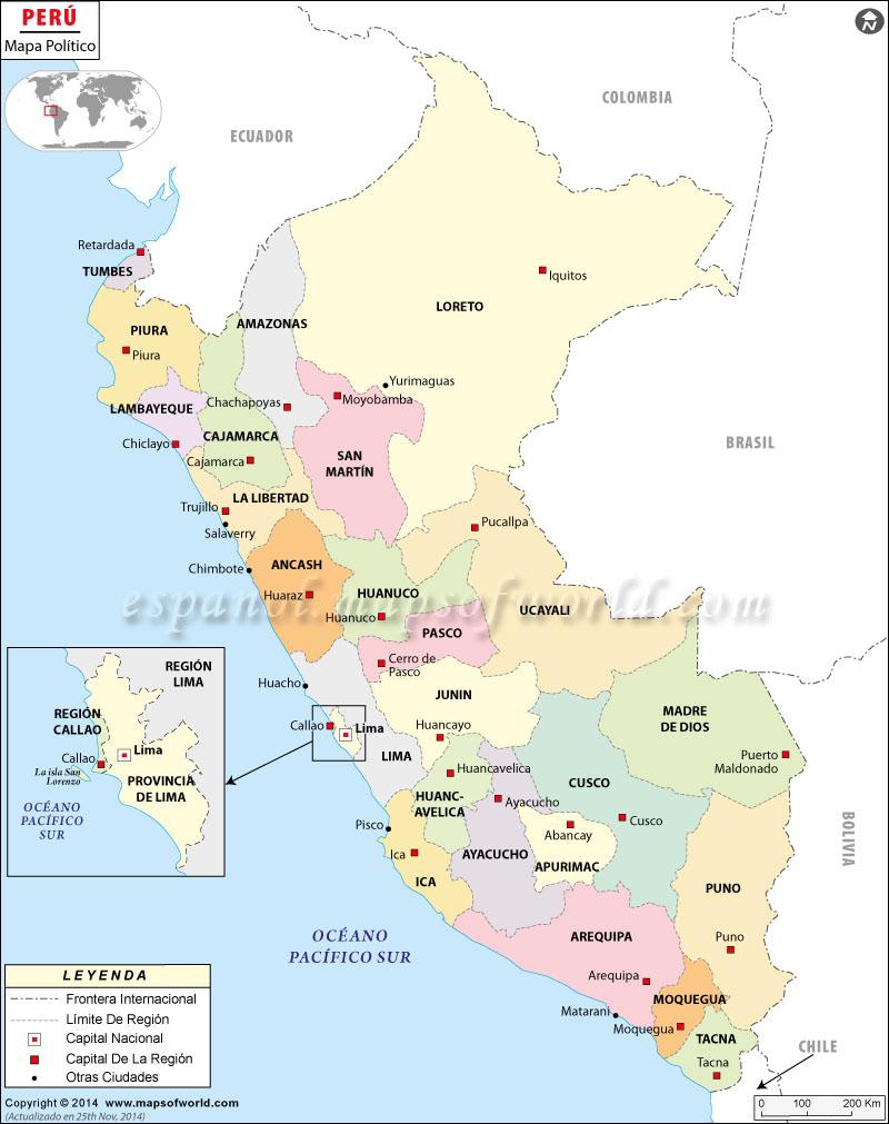 Mapa Politico Del Peru.Mapa Politico Del Peru Mapa Politico De Peru