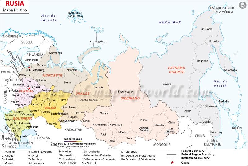 Rusia Mapa Politico