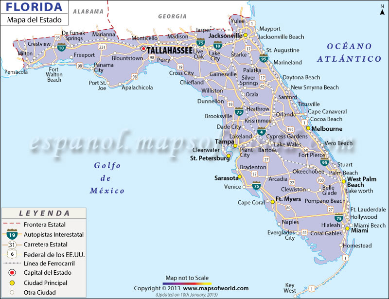 Mapa Del Estado De Florida Estado Unidos De America - Mapa florida usa
