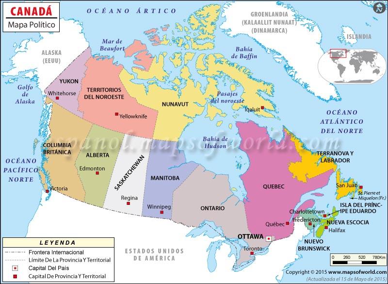 Mapa de Canada  Mapa Politico de Canada