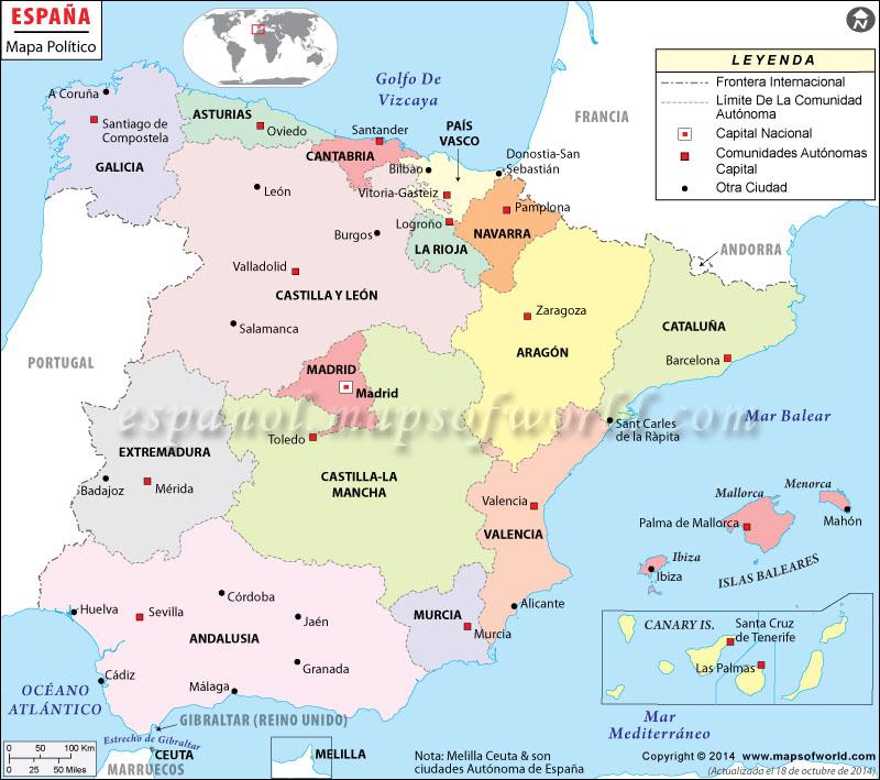 Golfo De Vizcaya Mapa.Mapa De Espana Espana Mapa
