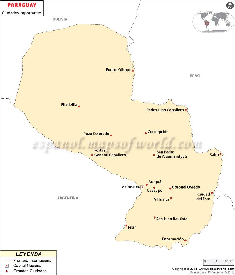 Ciudades de Paraguay Mapa