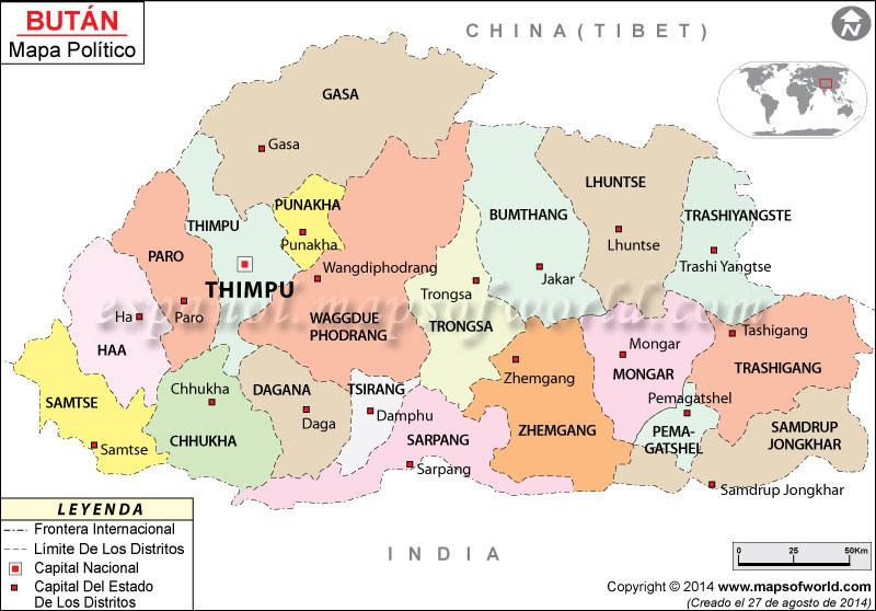 Bhutan Political Map