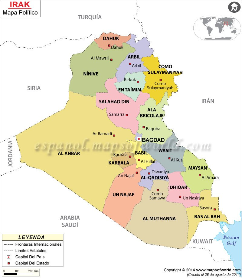 mapa de iraq