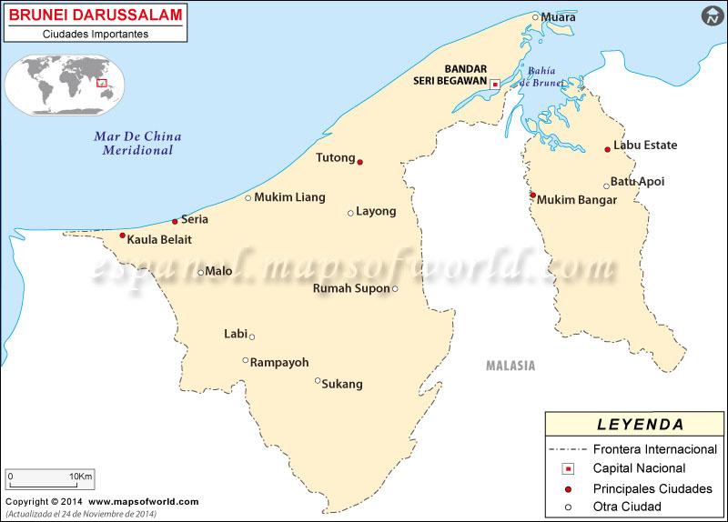 Brunei Ciudades Mapa
