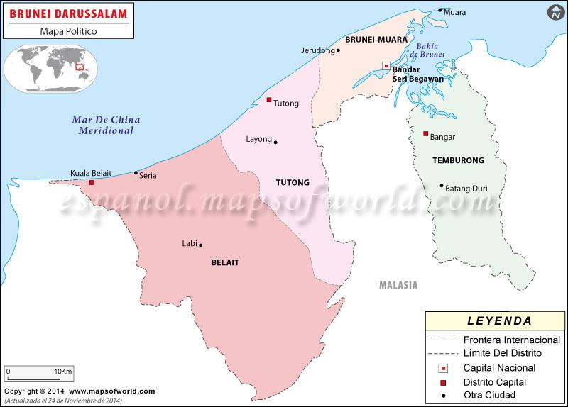 Mapa de Brunéi