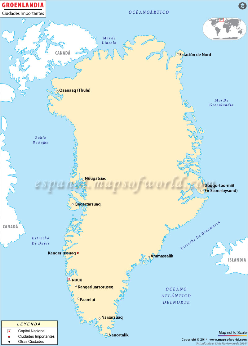 Groenlandia Ciudades Mapa