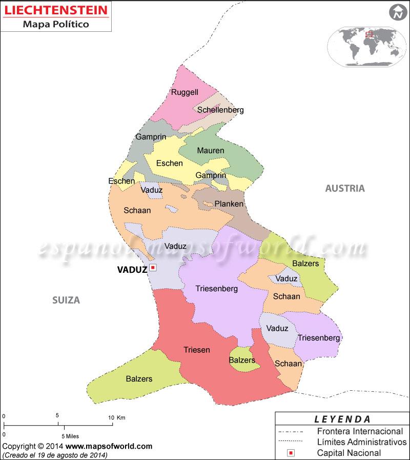 Liechtenstein Mapa