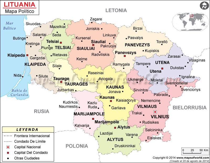 lituania mapa Lituania Mapa lituania mapa