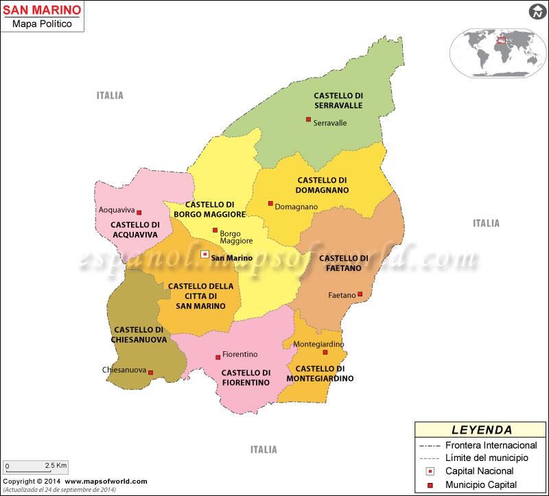 San Marino Political Mapa